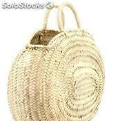 Bolso oval de palma abierto asa pita grande