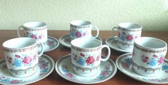 Juego café 6 piezas porcelana china