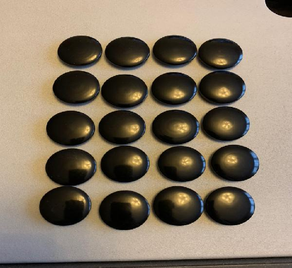 Lote 20 botones antiguos (2,3 cm) negro brillo