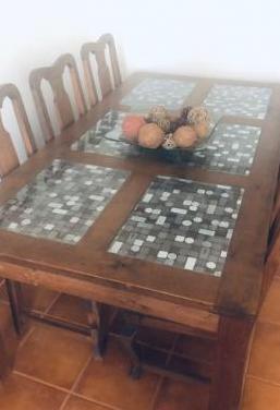 Mesa 6 sillas madera maciza