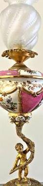Superexclusiva antigua lampara bronce/porcelana