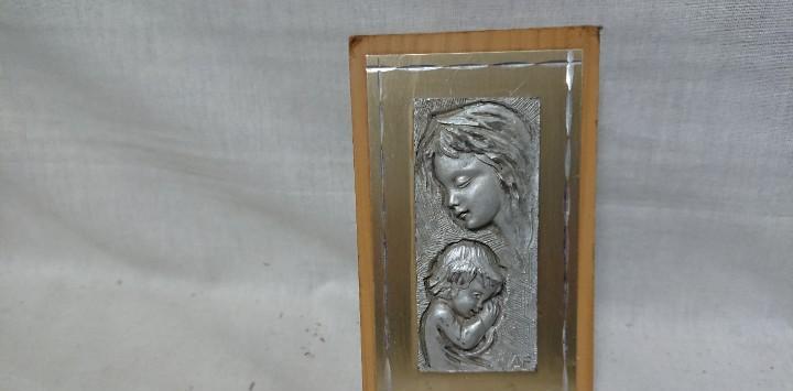 Virgen con niño jesús sellado af peltro inciso a mano made