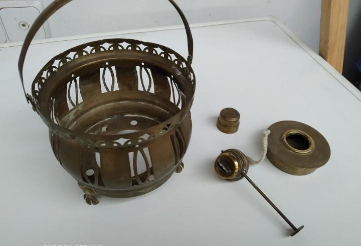 Antigua lampara candil portavela candelabro bronce coleccion