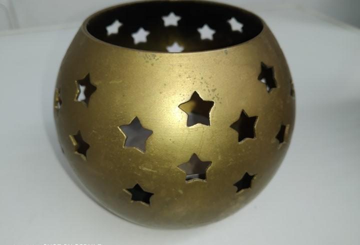 Antiguo candelabro lampara portavela bronce y estrellas muy