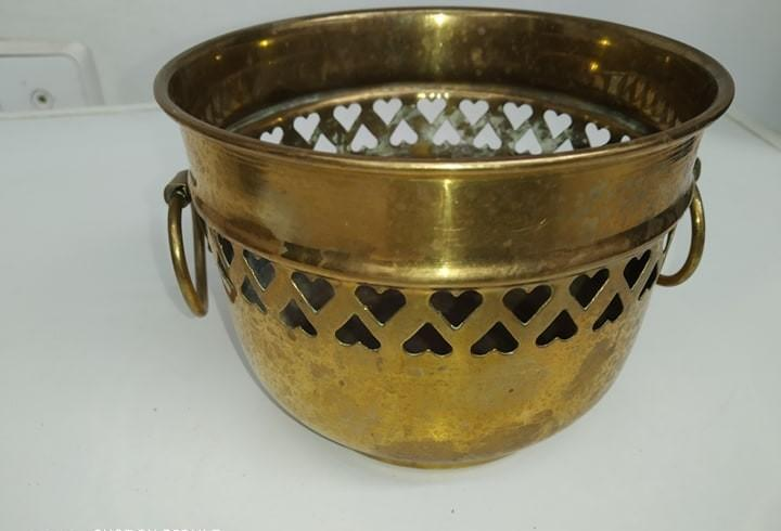antiguo candelabro portavelas bronce, vasija para planta,