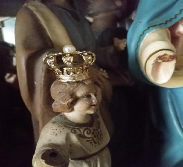 Pequeña antigua corona metal perla y brillantitos, ideal