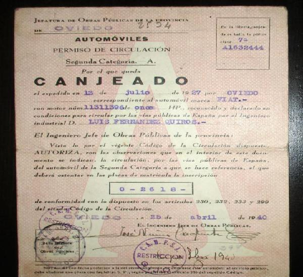 Documentación original de fiat 11 hp de 1940. matrícula