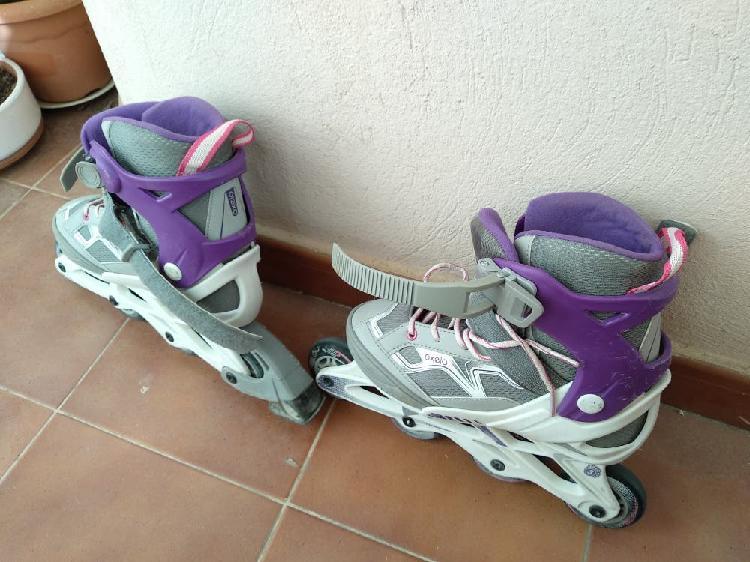 Juego de patines con protecciones y bolsa