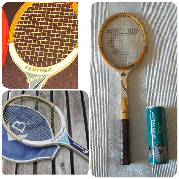 Lote de 3 raquetas de madera antiguas