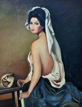 Precioso oleo de mujer pintado a mano