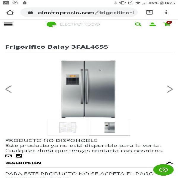 Balay nevera americana 3fal4655 acero anti huellas