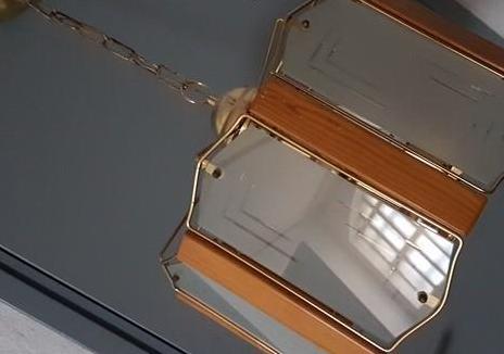 Lampara techo de cristal madera