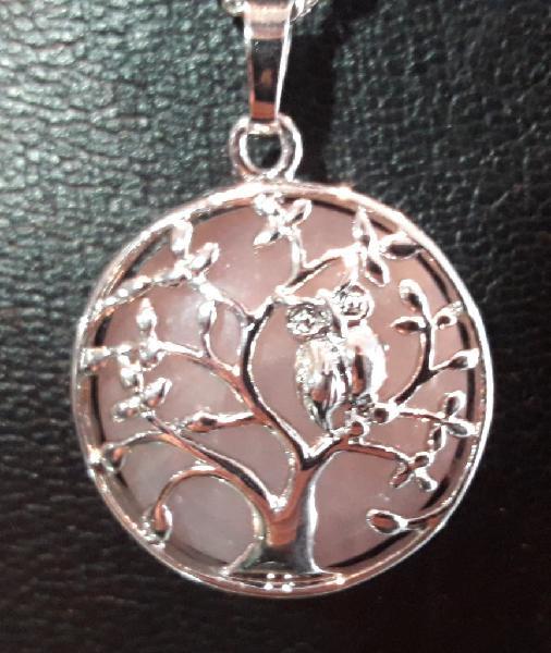 Colgante árbol de la vida con buho cuarzo rosa