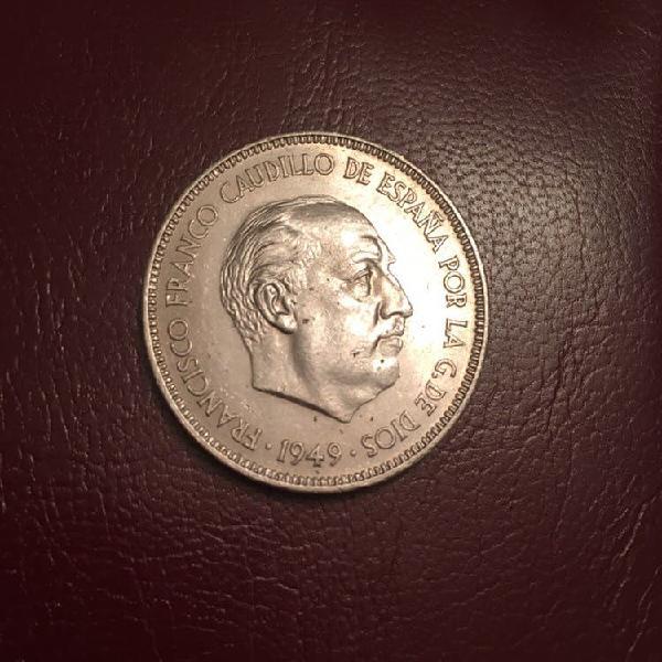 Moneda cinco pesetas 1949. estrella 19 50