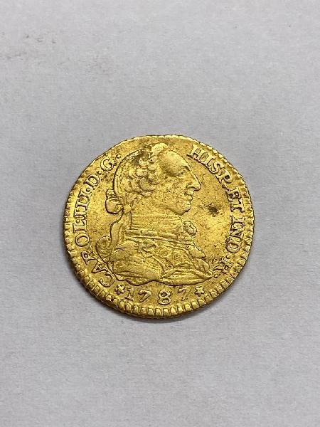 Moneda de oro 1 escudo carlos iii 1787 madrid