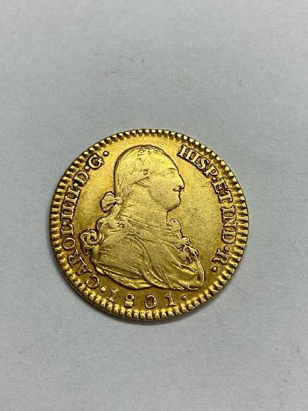 Moneda oro 2 escudos carlos iv 1801 madrid
