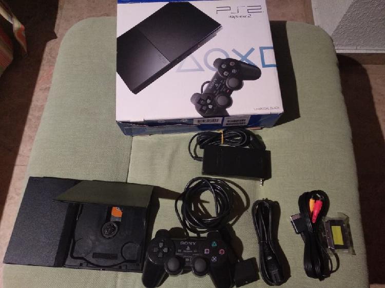 Ps2 slim + cables + manual + mando + caja