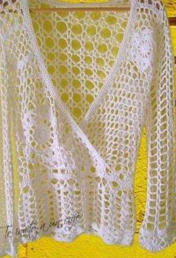 Blusa de manga larga a crochet