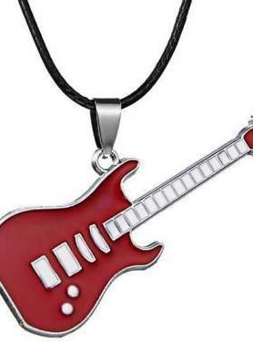 Colgante de guitarra roja