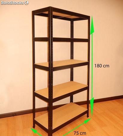 Estantería metálica sin tornillos 180x75x35cm 5 pisos muy