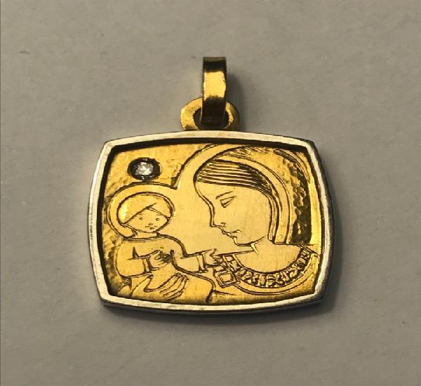 Medalla escapulario plata primera ley y diamante