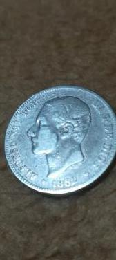 Moneda plata antigüedad 1882.