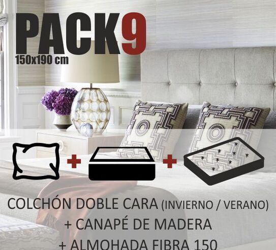 Pack cama 150x190cm colchón canapé almohada