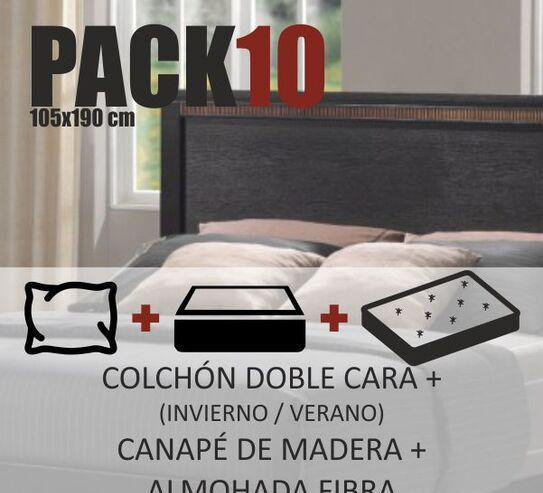 Pack nº 10 105x190cm colchón canapé almohada