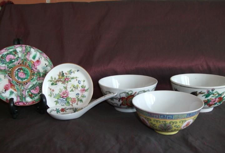 Antiguo vajilla. conjunto piezas, porcelana china. macao.