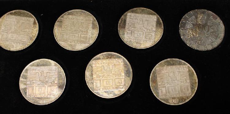 Estuche 7 monedas plata austria