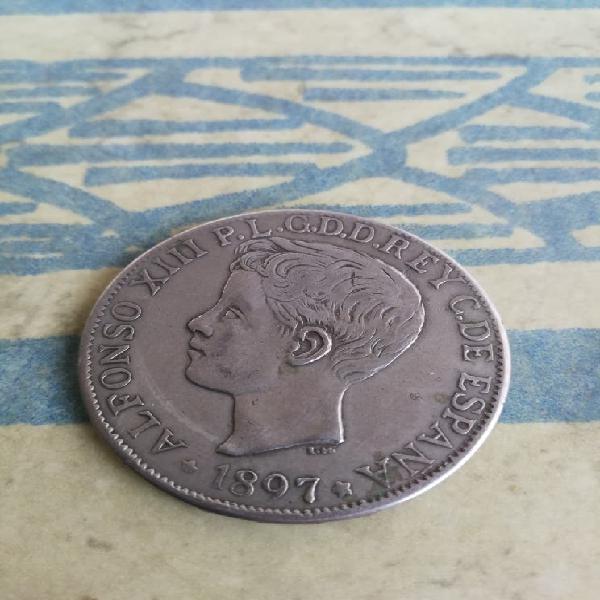 Un peso año 1897 manila -filipinas alfonso xiii
