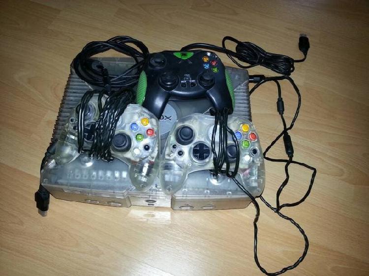 Xbox crystal + 7 juegos + volante