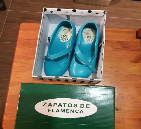 Zapatos de flamenca color turquesa numero 31 ramirez