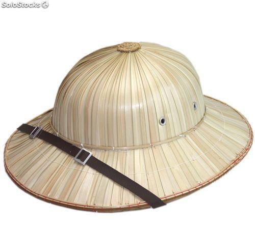 Sombrero salacot bambú natural. Explorador