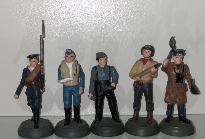 5x Soldados de plomo Almirall Palou Aviadores 1:32 metal