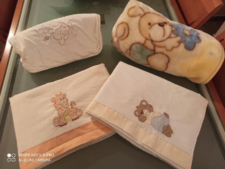 Lote sábanas y mantas cuna bebé