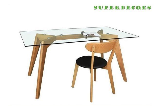 Mesa de cristal y madera africa 120*80 cms