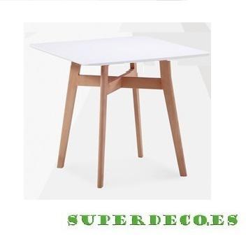Mesa de madera, color blanco, belfast