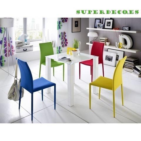 Mesa de madera y cristal, color blanco