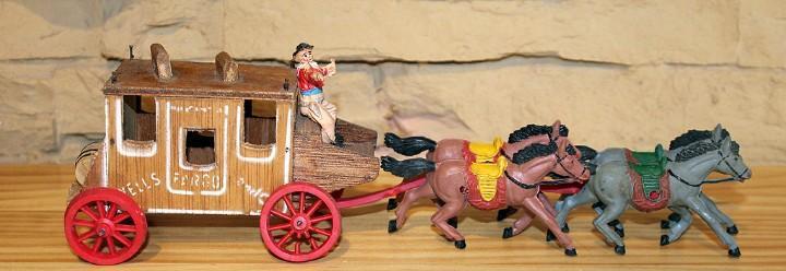 Pech - diligencia del oeste fabricada en madera y figuras de