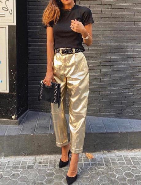 Pantalones slouchy zara m 38 dorado agotado