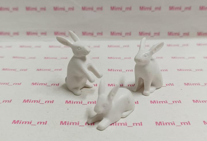 Playmobil 3 conejos blancos animales granja medieval western