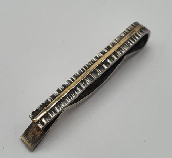 Clip para corbata antiguo en art decó en plata de ley y oro
