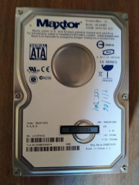 Disco duro estropeado sata maxtor 200 gb