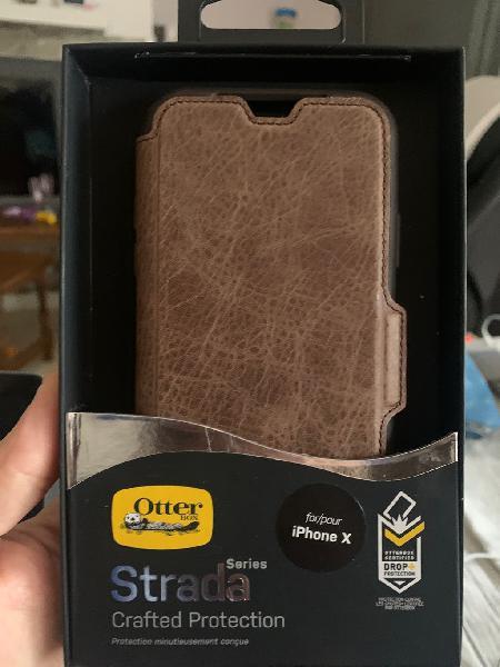 Funda cuero auténtico iphone x / xs
