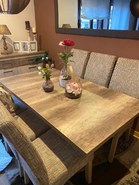 Mesa de comedor extensible 2m + 6 sillas
