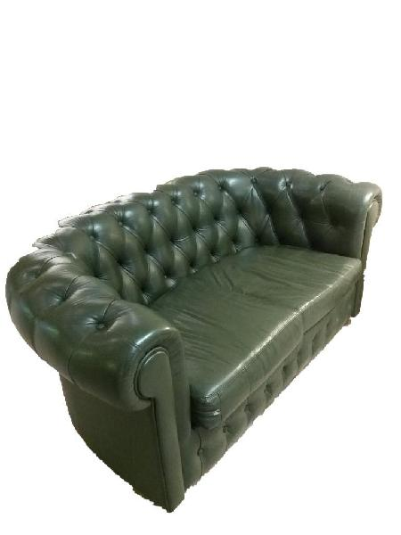 Sofá chester piel verde de tres plazas