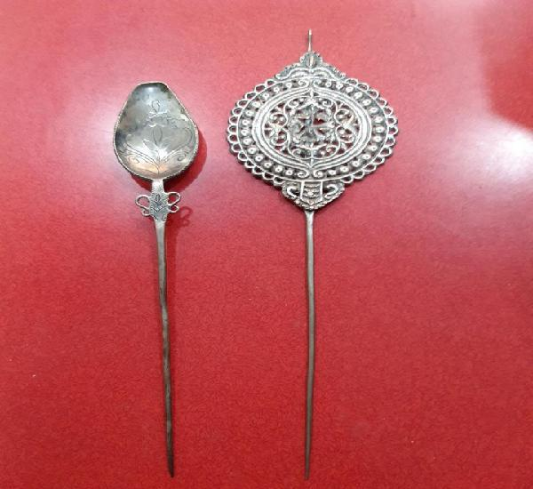Par de tupu en plata trabajada antiguos