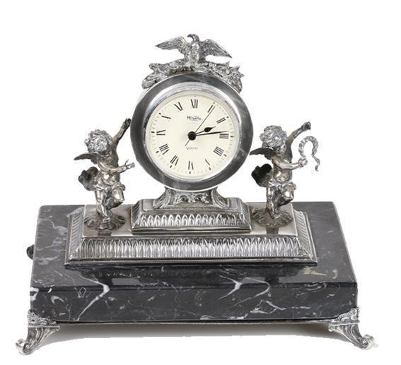 Reloj de sobremesa plata de ley, s. xx.