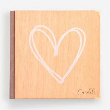 Album de fotos madera/cuero corazón